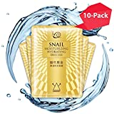 Snail Face Mask, Hawwwy 10 Pack Snail Sheet Masks, Anti Wrinkle Face Mask, Repairs Cells, Reverses Sun Damage, Evens Skin Tone