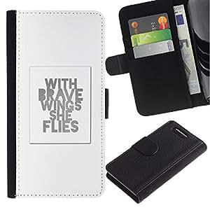 WINCASE ( No Para Xperia Z1 ) Cuadro Funda Voltear Cuero Ranura Tarjetas TPU Carcasas Protectora Cover Case Para Sony Xperia Z1 Compact D5503 - cita de motivación minimalista femenina