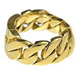 Bling Cartel Heavy 30MM Wide Cuban Link 316L Stainless Steel Gold Finish Big Chunky Hip Hop 9'' Bracelet