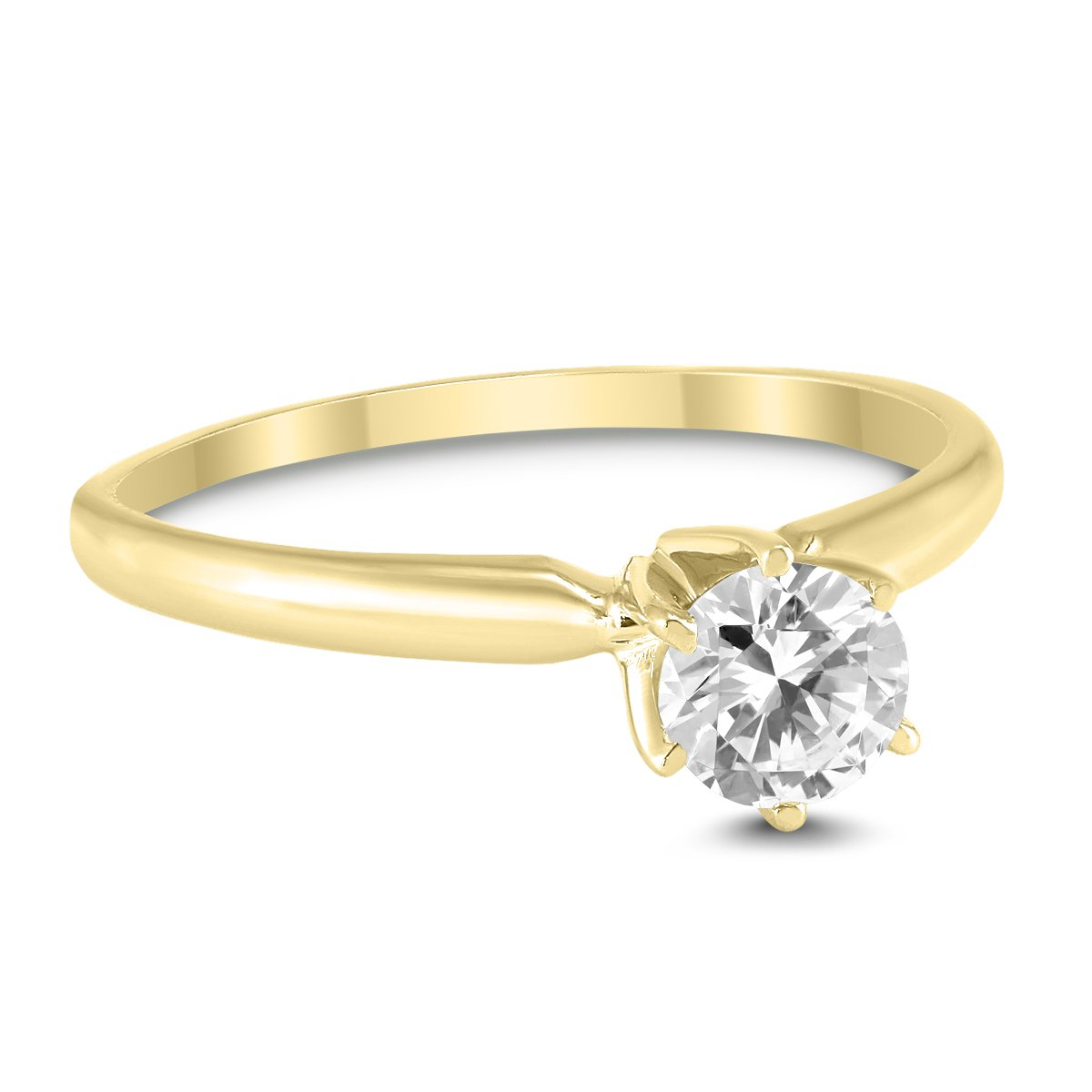 Round Diamond Solitaire Ring in 14K Yellow Gold