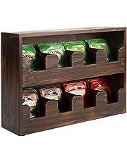 MyGift 8-Compartment Rustic Dark Brown Burnt Wood Tea Bag Holder Box Tabletop Dispenser Shelf