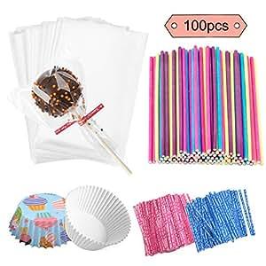 Amazon.com: Jatidne - 100 palillos para piruletas con bolsas ...