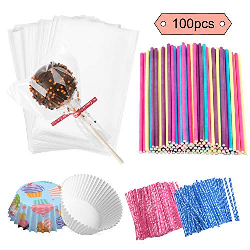 Jatidne 100 Pieces Cake Pop Sticks Lollipop Sticks with Lollipop Bags Ties and Cupcake Wrappers for Lollipop Making Party Favours]()