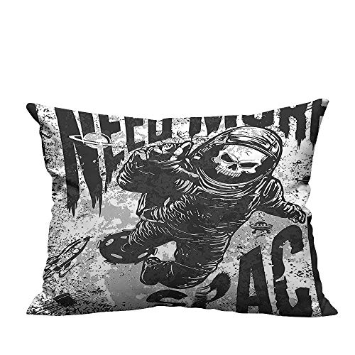 YouXianHome Zippered Pillow Covers Skull Spaceman Suit Over Background Dead Spooky Halloween Theme Grey Decorative Couch(Double-Sided Printing) 31.5x31.5 inch ()