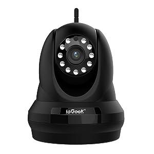 ieGeek Cámara IP,1080P HD H.264 2.0MP Webcam WiFi P2P inalámbrico Pan Tilt, visión nocturna IR-Cut, detección de movimiento,Negro