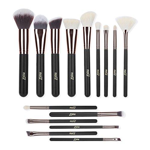 Makeup Brushes MSQ 15pcs Pro Rose Gold Makeup Brush Set with Bag & Natural Hair (Foundation Brush, Powder Brush, Eyeshadow Brush) Best for Valentine's Day Gifts - Rose Gold