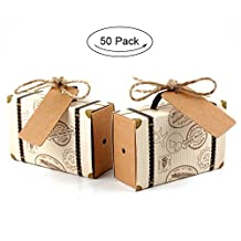 AerWo 50Pcs Suitcase Candy Box Candy Packaging Carton Wedding Party Decoration Suitcase Favour Gift Boxes