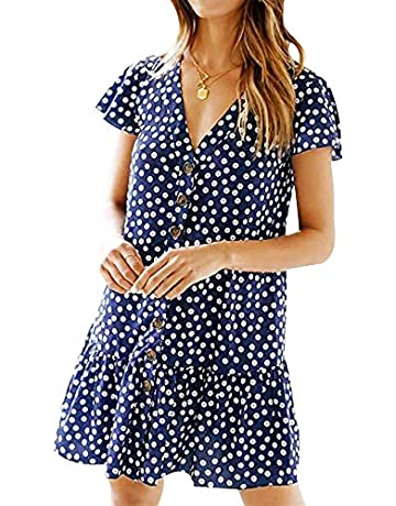 372f654101f LANREMON Women's Dresses Casual Button Down Polka Dot V-Neck Short Sleeve  Ruffles Loose Fit