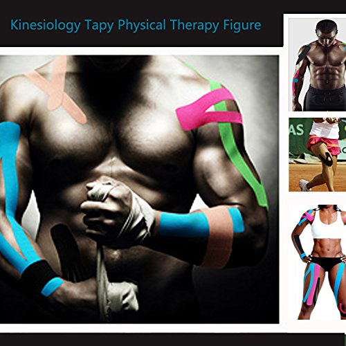 Kinesiology Tape Knee Pregnancy Waterproof Pain Relief Sports Tape Physio Tape for Injury Knee Feet Muscle Strains Neck Shoulder Ankle 5cm x 5m roll(2 Pack or 1 Pack)