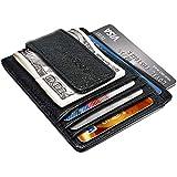 KINGDOO Mens Slim Credit Card Wallet Cases Magnetic Minimalist Leather Pocket Wallet Money Clip for Men (Black)