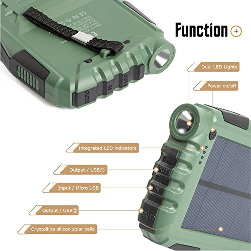 Elzle 25000mAh moveable Solar power Bank dual USB outcome Battery Bank along with solid LED light-weight Outdoor Solar Charger cellular phone External Battery Shockproof Dustproof for iPhone SeriesSmart PhoneMore Solar Chargers