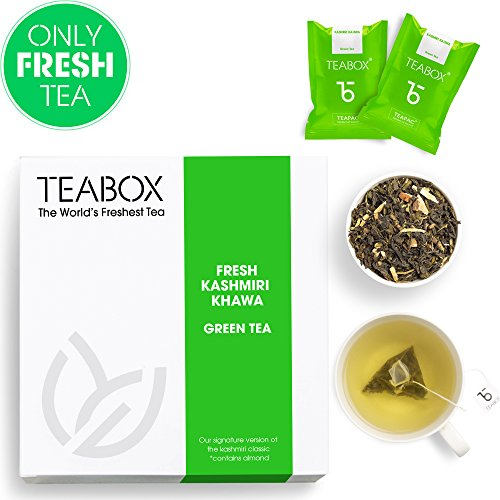 Teabox Fresh Kashmiri Kahwa Green Tea | Contains Saffron, Almond, Cardamom, Clove | Box of 16 Tea Bags
