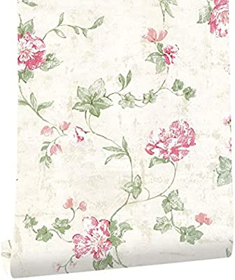 Haokhome 632664 Victoria Floral Wallpaper Peel And Stick Wall Murals Ivory Pink Green 17 7 X 19 7ft Prepasted Contact Paper Buy Online At Best Price In Uae Amazon Ae
