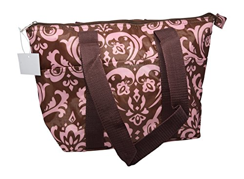 Large Reusable Zippered Top Insulated Lu - Brown Damask Gift Shopping Results