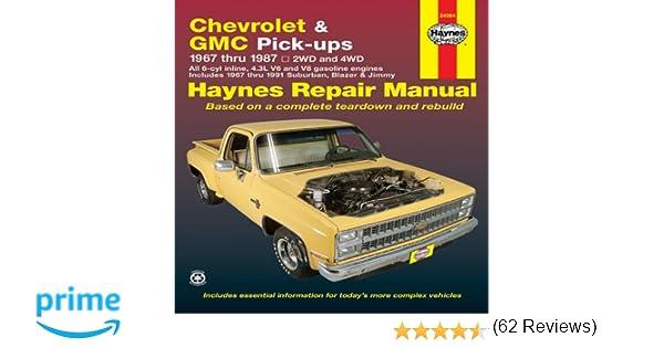 Chevrolet gmc pick ups 1967 thru 1987 haynes repair manual chevrolet gmc pick ups 1967 thru 1987 haynes repair manual haynes 9781850107644 amazon books fandeluxe Gallery