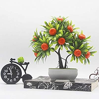 Hockus Decorations Artificial Fruits Bonsai Plastic Fake Bonsai Trees with Pot Artificial Bonsai Potted Home Wedding Decor Bonsai - (Color: Orange): Home & Kitchen