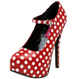 Bordello By Pleaser Women's Teeze-08 Platform Pump,Red PU/White Polka Dots,7 M US
