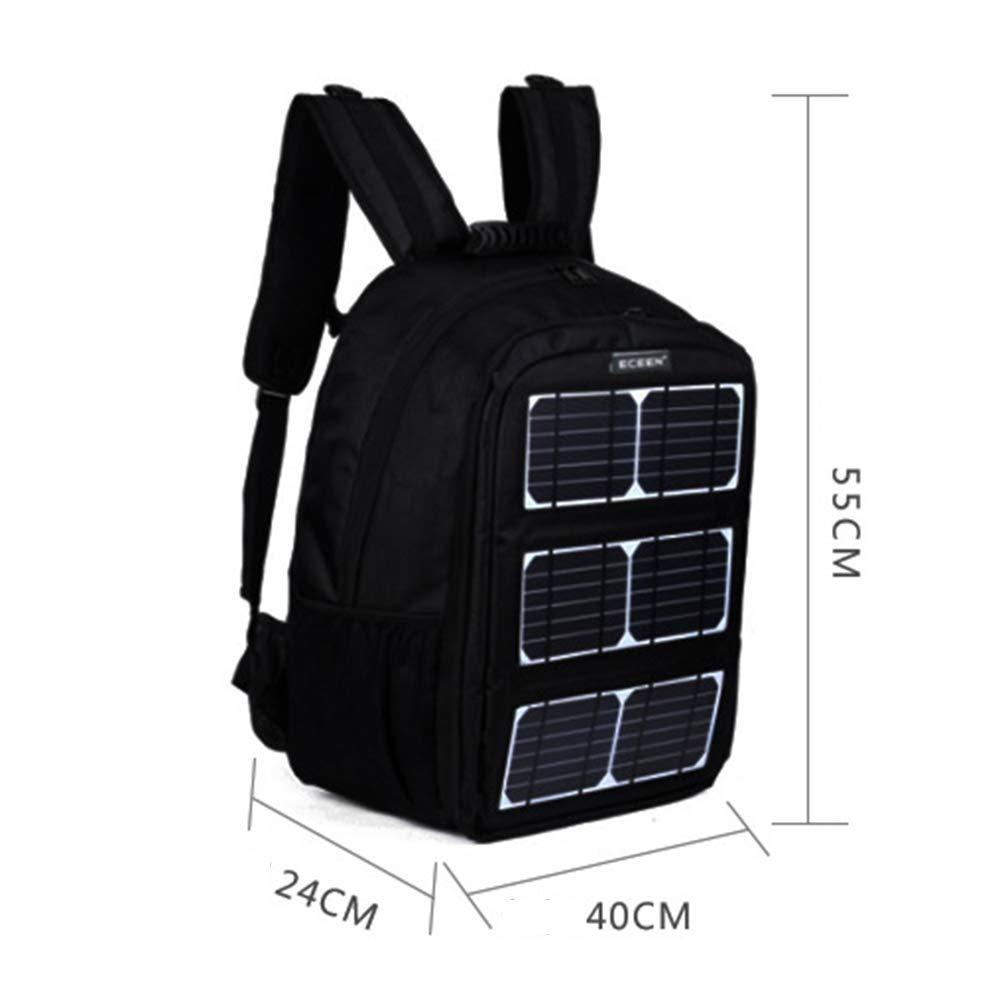 AUNLPB Zaino Solar Powered Backpack Zaino antifurto per Laptop con Pannello Solare Carica per Smart Phone Perfetto per lescursionismo Camping Trekking Pesca Emergenza