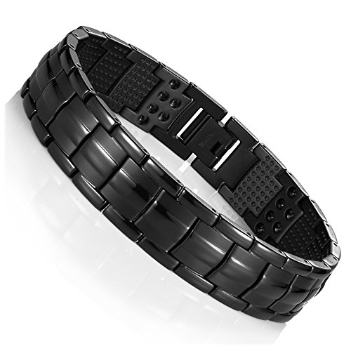 (Urban Jewelry Men's Black Link Bangle Titanium Bracelet 8.66 inch Matches Any Attire Perfect for a Gift)