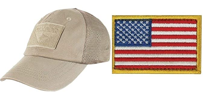 Image Unavailable. Image not available for. Colour  Ultimate Arms Gear  Condor Mesh Tan Cap USA Flag Patch ... 8ff00a51607