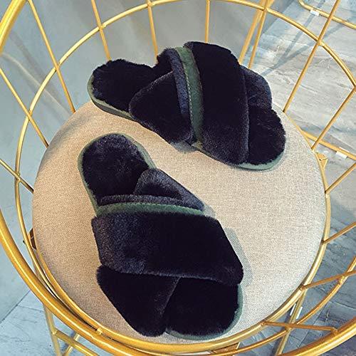 Da Zlulu Calde Ciabatte Donna Per Casa Interno A Scarpe Pantofole Uso Inverno Incrociate rqz8rH