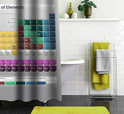 Soletex Mildew Resistant Bath Shower Curtain – Printed Bathroom Drapes Decorations Anti-Bacterial Drape Liner Bath Curtains with Hooks Water Repellent Fabric Cloth- Periodic Table- 67 x 72 - Table Shower Periodic