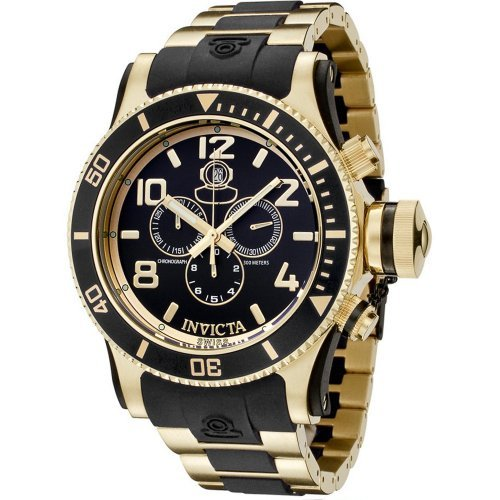 Invicta Men's 6633 Russian Diver Collection Chronograph 18K Gold-Plated Black Rubber Watch ()