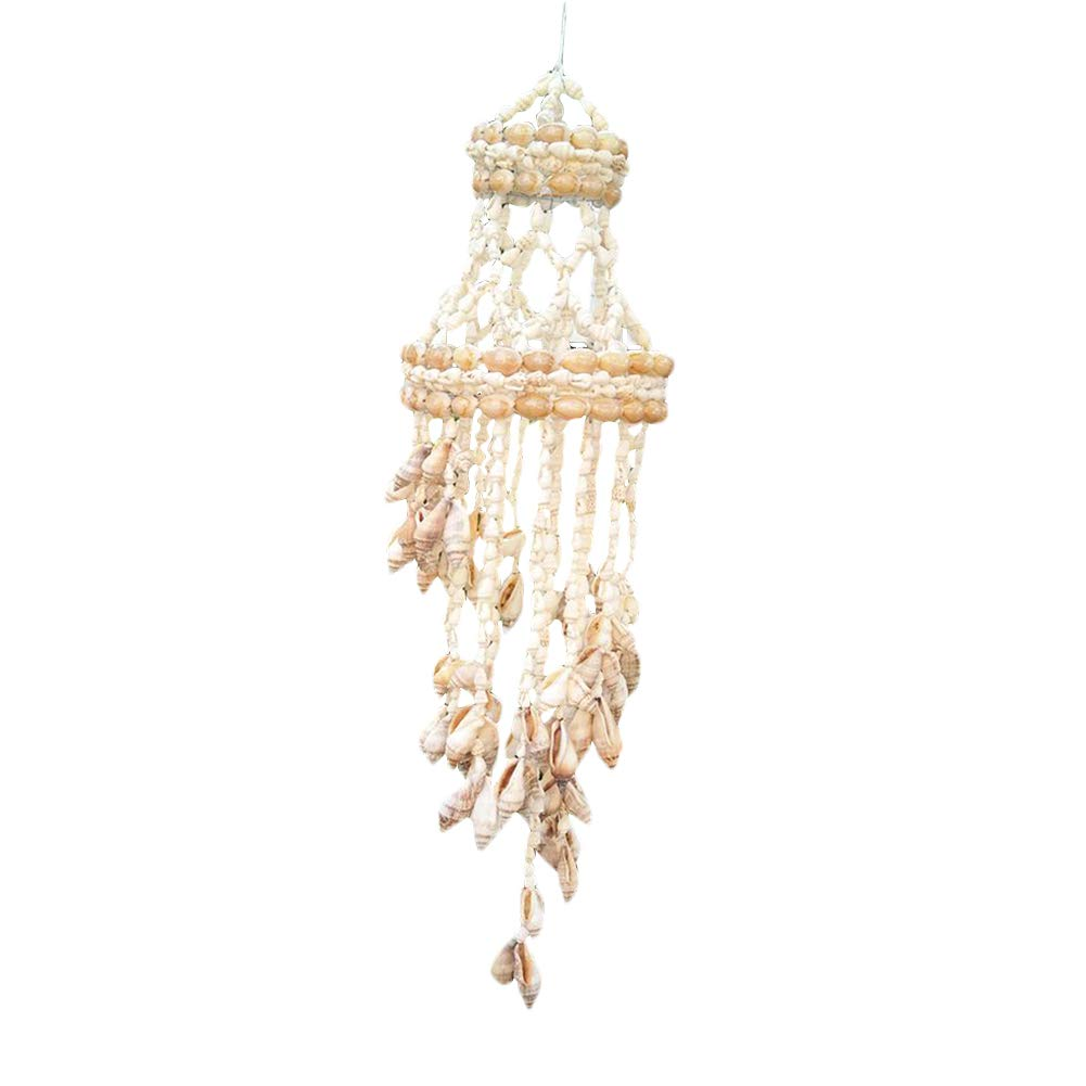Whthteey Natural Seashell Wind Chime Colorful Sea Shell Hand-made Wind Bell Outdoor Indoor Decoration for Garden Patio