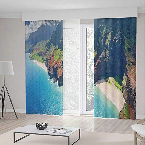 Hawaiian Decorations Room Decor Curtains,Na Pali Coast on Kauai Island on Hawaii in a Sunny Day Seaside Mountain Skyline,Living Room Bedroom Curtain 2 Panels Set,157 W 106 L, -