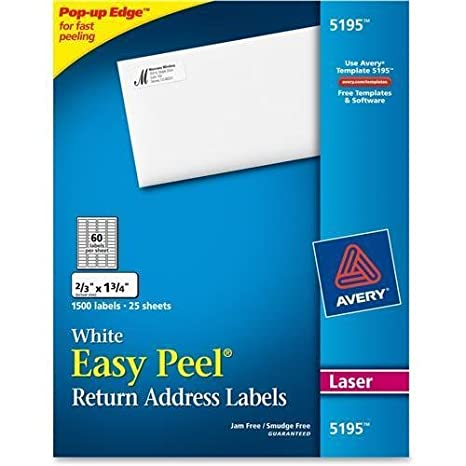 Amazon 5195 Avery Easy Peel Return Address Label 175 Width