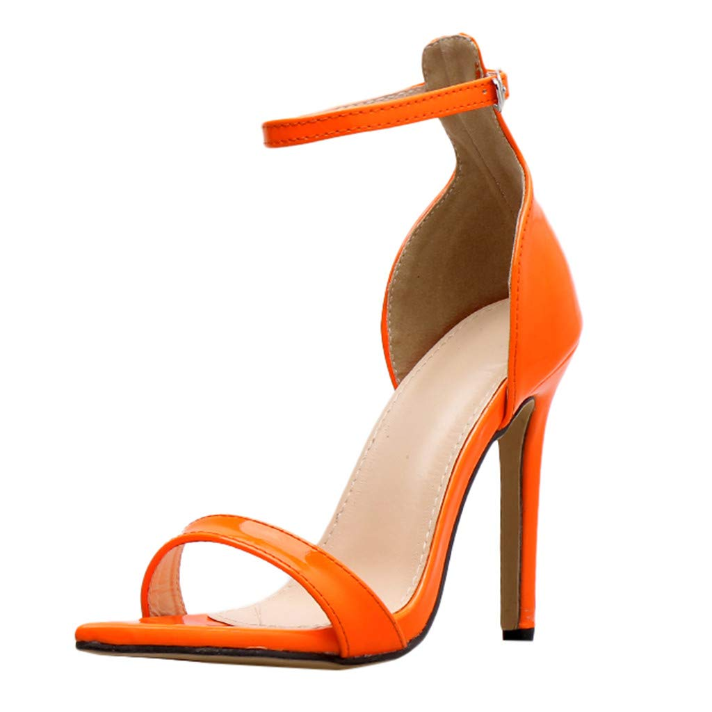 kaifongfu Summer Pointed-Ankle Women's Pointed Toe Ankle Strap High Heel Stiletto Party Pumps Shoes(Orange,37) by kaifongfu
