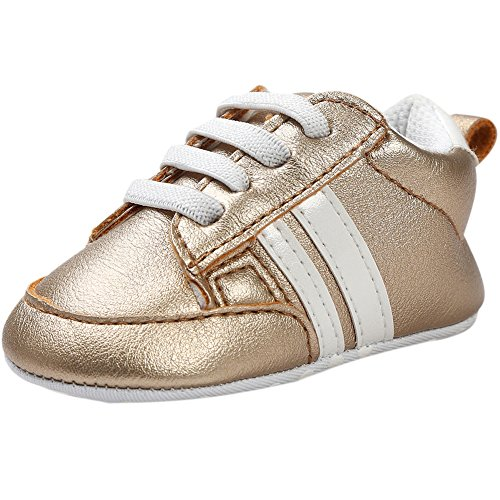 Fire Frog Baby Sports Sneaker - Zapatos primeros pasos de Piel Sintética para niño dorado