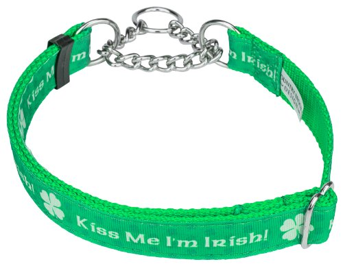 Country Brook Design Kiss Me I'm Irish Grosgrain Ribbon Half Check Dog Collar - Extra Large