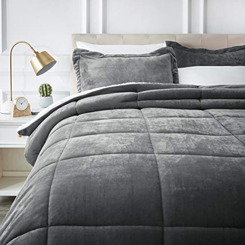 AmazonBasics Ultra-Soft Micromink Sherpa Comforter Bed Set - King, Charcoal - Pastel Satin Pillow