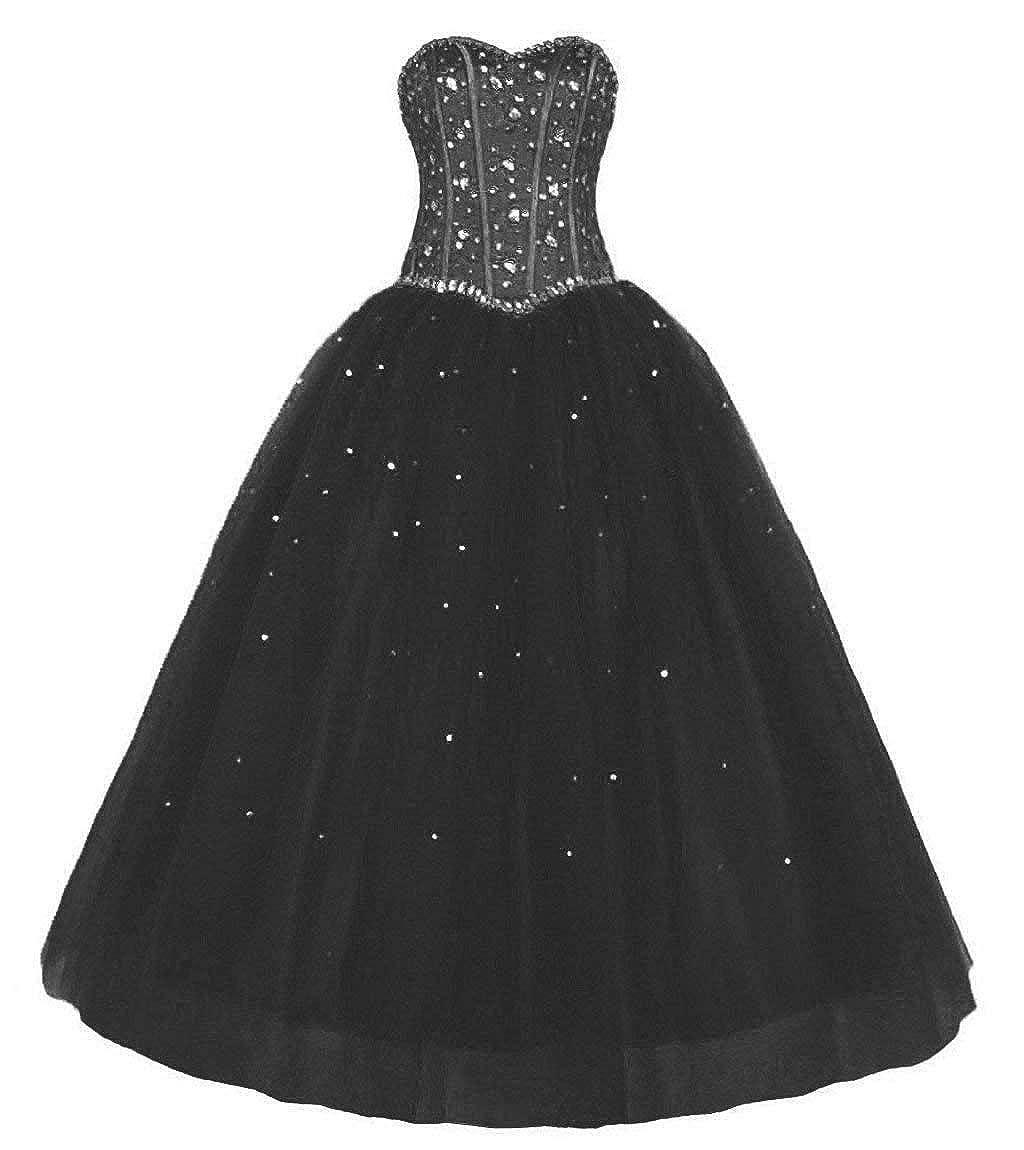 Black Vantexi Women's Sweetheart Rhinestone Tulle Long Evening Prom Dresses