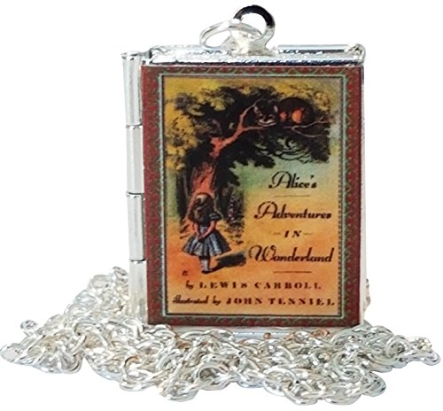 Costume Cheshire Pictures Cat (Alice in Wonderland Book Cover Locket Jewelry, Silver, Holds 2 Pictures Necklace With Box Gift)