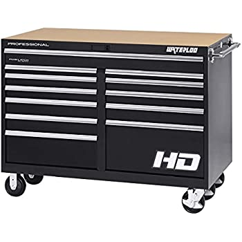 """Waterloo Professional HD Series 12-Drawer Rolling Tool Cabinet with Posi-Latch Drawer Latching System, Black Finish, 56"""" W"""