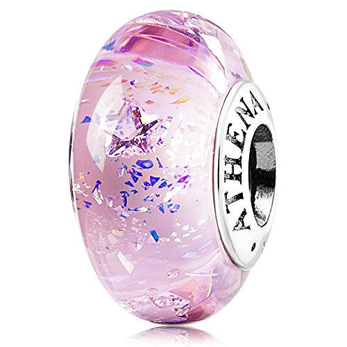 ATHENAIE Murano Glass 925 Silver Core Christmas Lucy Star Clear CZ Charm Beads Color Pink