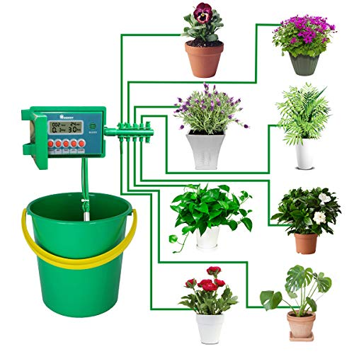 Shrub Drip - Yardeen Micro Automatic Drip Irrigation Kit Self Watering System Sprinkler Controller for Indoor Potted Plants Color Green