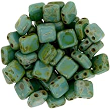 Czechmate 6mm Square Glass Czech Two Hole Tile Bead - Persian Turquoise Picasso