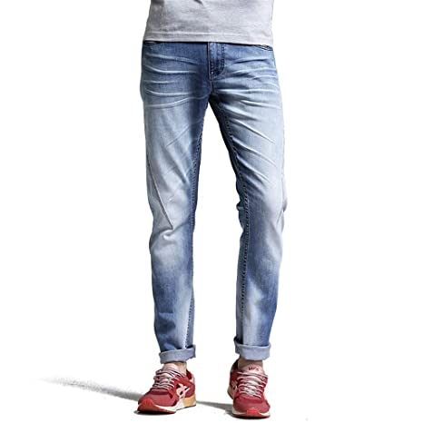 Weentop Jeans Rectos Delgados para Hombre, Color Azul Claro ...