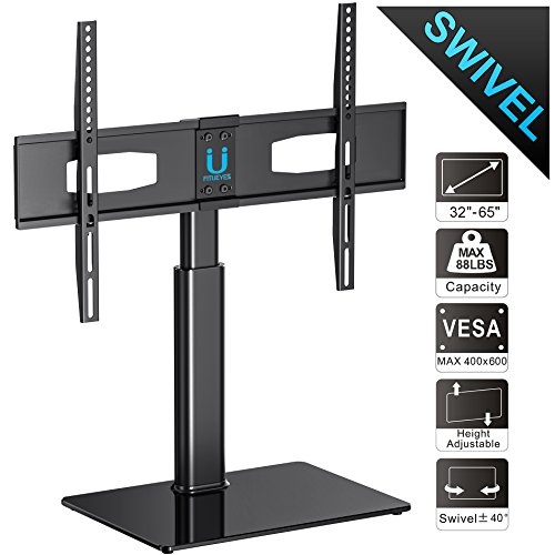 """Fitueyes Universal TV Stand for 50 55 60 65 inch Flat Curved Screen TV Fit Most 32-65"""" Vizio/Sumsung/Sony Tvs Max VESA 400x600 TT105202GB"""