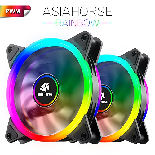 Asiahorse Rainbow 120mm Pwm 4pin Color Dual Halo Low Noise Cooling Anti-Pressure Industrial Design Case Fan,2PACK