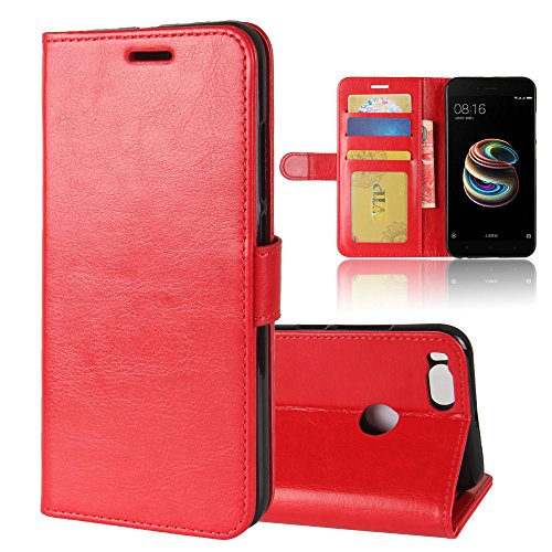 (AICEDA Xiaomi Mi 5X Case Cover, Man Leather case Anti-Scratch Wallet Case [Card Pocket] Protective Shell Armor Hybrid Shockproof Rubber Bumper Cover with Card Slot Holder - Red)