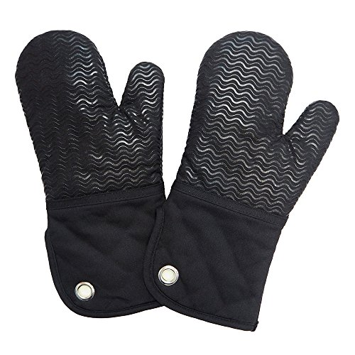 Heat Resistant Kitchen Oven Mitts 500 Degrees With Non-Slip Silicone Printed Set of 2 Oven Gloves for BBQ Cooking set Baking Grilling Barbecue Microwave Machine Washable Women and Man (Black, Printed)
