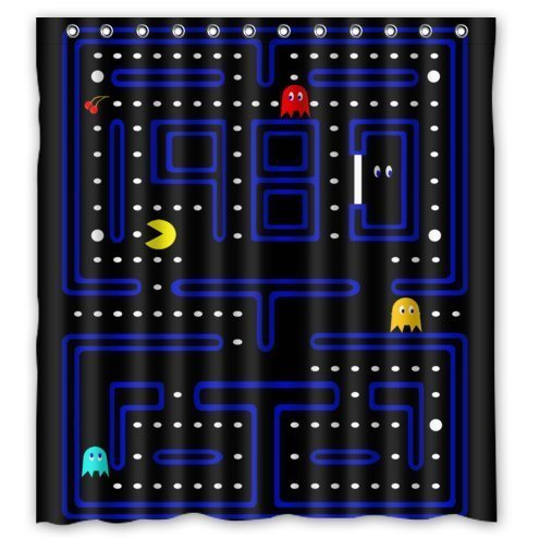 Shower Curtain Video Game Childhood Memories Waterproof Bathroom Blue, Polyester Mildew Proof Bath Curtain 66''(W) x72(L).