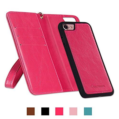 iPhone7/8 ケース 手帳型 Doormoon PUレザー マグネット式 取り外し可能 スタンド機能 カードポケット 財布型 ストラップ付き 携帯便利 かわいい ローズレッド