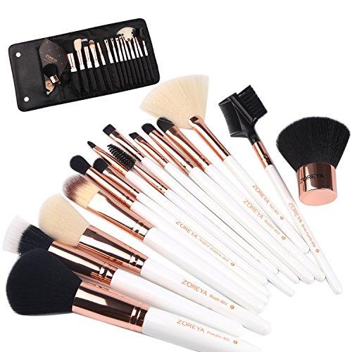 ZOREYA Makeup Brushes Premium Luxury 15pc Rose Gold Make Up Brushes Set With Professional Easy Travel Vegan Leather Makeup Brush Set Case Bag Organizer Kit with Eyebrow Eyeshadow Kabuki from ZOREYA