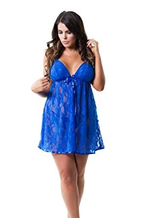 Perfect4u Blue Plus Size Lace Babydoll Dress Thong Sizes 22 24