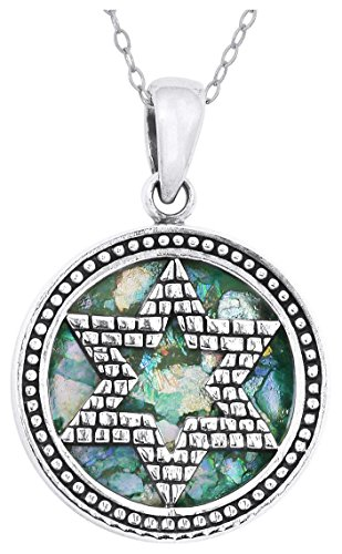 (Round Sterling Silver and Roman Glass Star of David Pendant (chain NOT included))